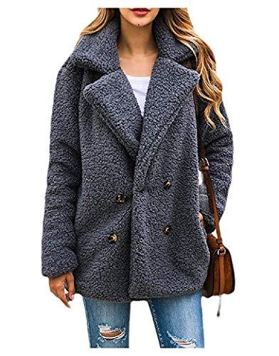 Womens Warm Button Notch Lapel Outwear Coat met zakken
