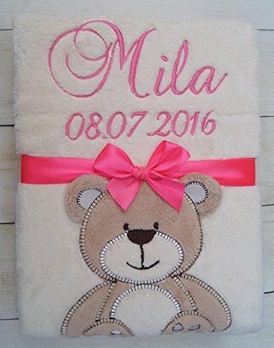 ★ Babydecke mit Namen und Datum bestickt ★ Baby Geschenke ★ Geburt ★ (Beige - Teddy)