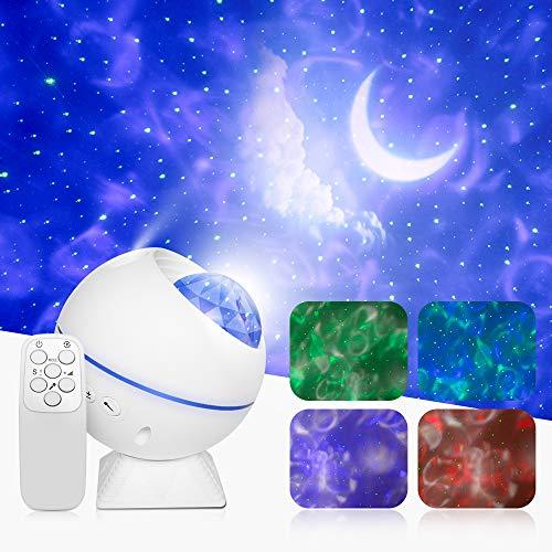 LED Sternenhimmel Projektor, CoPedvic 3-in-1 Ozeanwellen Projektor Sternenhimmel Lampe 360°Drehen Mondlicht mit Fernbedienung Nachthimmel Lampe für Party, Weihnachten, Schlafzimmer, Gaming
