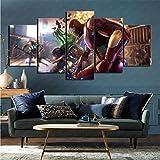 mmkow Image 5 pièces de Jeu vidéo Avengers Art of Life Room Home Decoration 80x150cm (Framed)