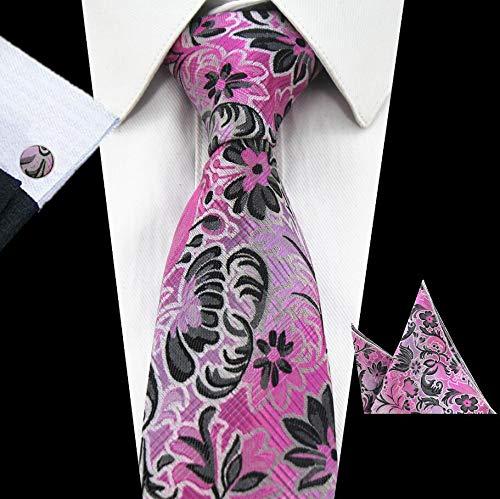 LUHELDM Corbata de Seda de Tela Escocesa Jacquard Corbata Tejida Pañuelo Conjunto de Bolsillo Cuadrado Hombres Corbata50