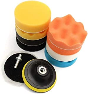 11Pcs Sponge Buffing Polishing Waxing Pad Kit for Car Polisher Buffer w/Drill Adapter(4inch)