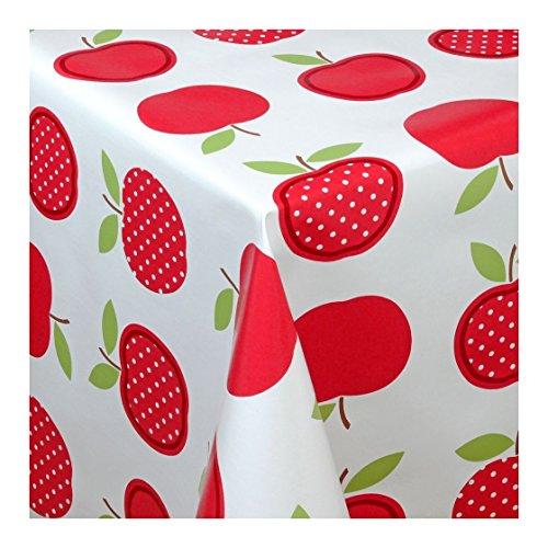WACHSTUCH Tischdecken Wachstischdecke Gartentischdecke, Abwaschbar Meterware, Länge wählbar, Red Apples Äpfel Rot Weiß (623-02) 100cm x 140cm