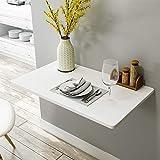 GQFGYYL-QD Mesa De Comedor Plegable De Pared, Mesa De Pared De Cocina Blanca con 2 Soportes, Adecuada para Cocina/Comedor/Dormitorio,120X30cm