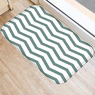 HLXX Green Geometric Pattern Anti-Slip Suede Carpet Door Mat Doormat Outdoor Kitchen Living Room Floor Mat Rug A7 40x60cm