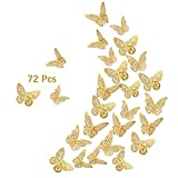 3D Gold Butterfly Wall Decals, 72Pcs 3 Sizes 3 Styles, Removable Srickers Wall Deccor Room Mural for Party Cake Decoration Metallic Fridge Sticker Kids Bedroom Nursery Classroom Wedding Decor DIY Gift (Gold)