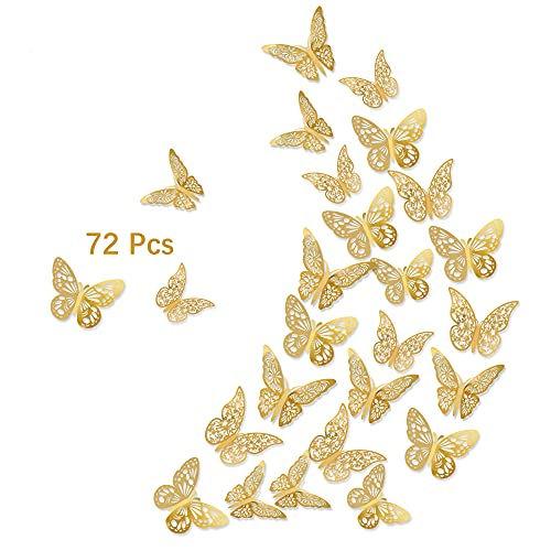 3D Butterfly Wall Stickers, 72Pcs 3 Sizes 3 Styles, Removable Metallic Wall Decals Fridge Sticker Room Mural Decoration for Kids Bedroom Nursery Classroom Party Wedding Decor DIY Gift (Gold)