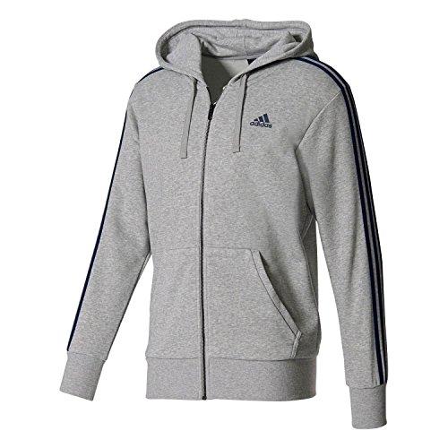 Adidas Ess 3S Fz Ft, Felpa Sportiva con Cappuccio Uomo, Grigio (Medium Grey Heather/Collegiate Navy), Small