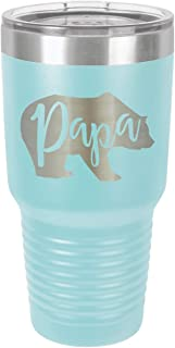 PAPA BEAR LIGHT BLUE 30 oz Drink Tumbler With Straw   Laser Engraved Travel Mug   Compare To Yeti Rambler   Gift Idea Dad For Father's Day & Birthday   OnlyGifts.com