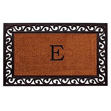 Home & More 100061830E Rembrandt Doormat, 18  x 30  x 1 , Monogrammed Letter E, Natural/Black