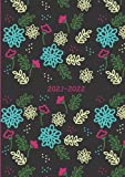 2021-2022: Small UK Academic Planner 2021-2022 / School Diary / Page A Day / Pretty Flowers - black background