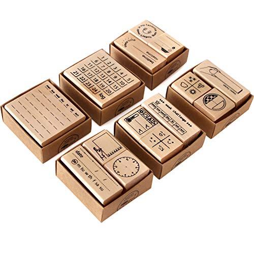 Stempel aus Holz und Gummi, zum Basteln, für Tagebuch, Scrapbook, Stempel-Set mit Pflanzendesign, Stempel-Set für Kartenherstellung, Bastelarbeiten, Scrapbooking, 14 Stück