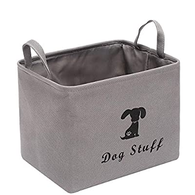 Geyecete Linen Storage Basket Bin Chest Organizer - Perfect for Organizing Dog Apparel & Accessories Storage, Dog Shirts, Dog Coats, Dog Toys, Dog Clothing, Dog Dresses, Gift Baskets-Gray