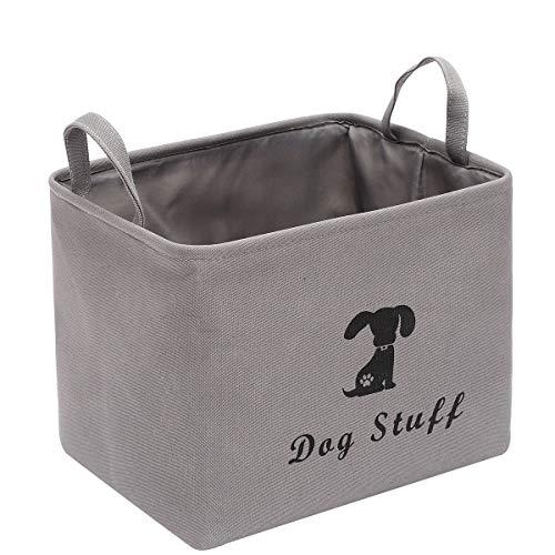 Spielzeugkorb für Hunde, aus Segeltuch, zur Aufbewahrung von Haustier-Spielzeug, Decken, Leinen, Mänteln, Knochen und Futter – Grau