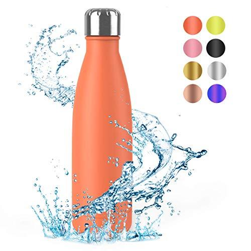 Festnight Borraccia Termica 500ml, Bottiglia Acciaio Senza BPA, Thermos Mantiene Caldo e Freddo per Palestra,Campeggio,Scuola