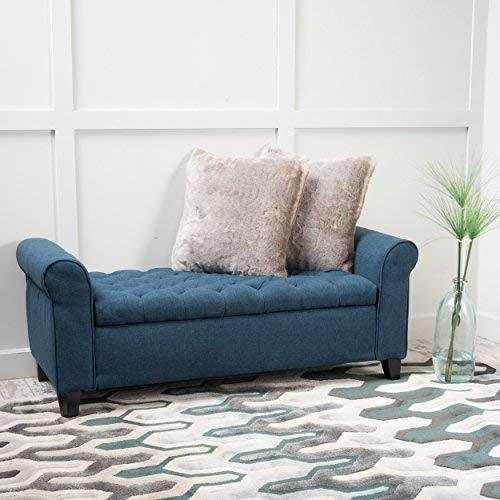 Christopher Knight Home Keiko Fabric Armed Storage Bench, Dark Blue