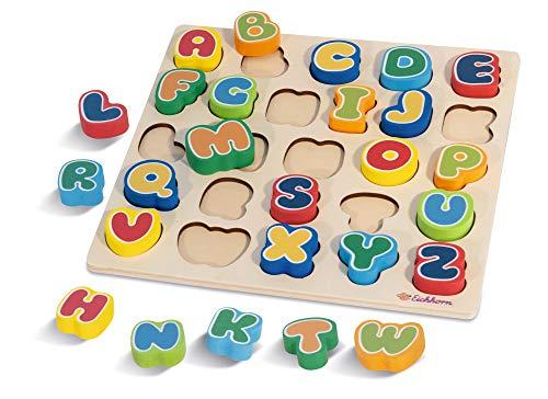 Eichhorn 100003455 26 Buchstaben spielerisch das Alphabet erlernen, aus Holz, inkl. Brett 30 x 30 cm, Lern und Motorikspielzeug, ab 2 Jahren