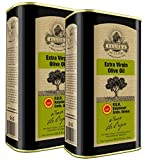 Ellora Farms, Global Gold Award Winner, Single Origin & Estate Traceable Extra Virgin Olive Oil, First-Cold Pressed, Certified PDO, Harvested in Crete, Greece, Kosher OU, 1 Lt (33.8 oz.) Tins, Pack of 2
