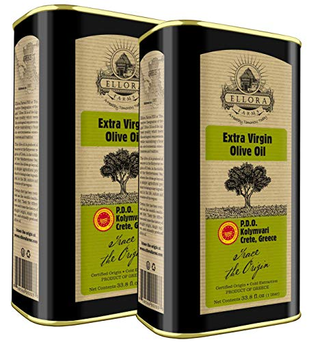 Ellora Farms, 2020 Global Award Winner, Single Origin & Estate Traceable Extra Virgin Olive Oil, First-Cold Pressed, Certified PDO, Harvested in Crete, Greece, Kosher OU, 1 Lt (33.8 oz) Tins, Pack of 2