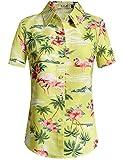 SSLR Camisa Hawaiana Mujer Blusa Flamencos Floral Casual para Verano (X-Large, Verde)
