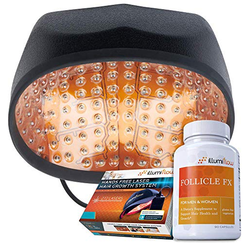 illumiflow 272 Bundle, Laser Cap, DHT Blocking Vitamins, and Hair Growth Guide to Stimulate and Grow Thicker Hair from Home.