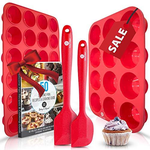 Baking & Beyond Premium Silicone Muffin Pan - Non Stick Silicone Cupcake Pan - 12 Cup Muffin Tray, 24 Cups Mini Cupcakes Pans - Silicon Muffin Molds - Silicone Baking Set - 2 Spatulas - Recipe E-book