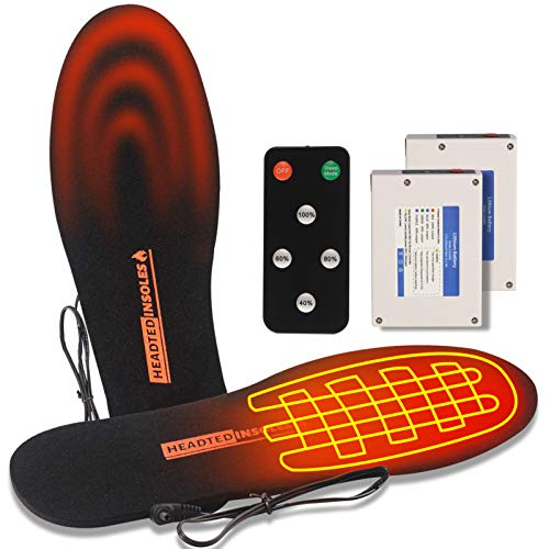 REIFUT Heated Insoles with Remote Control Unisex Rechargeable Battery Electric Shoe Insoles for Winter Outdoor Sports