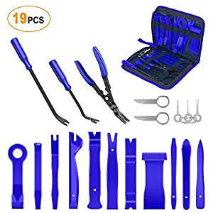 GOOACC - GRC-49 19Pcs Trim Removal Tool Set & Clip Plier Upholstery Remover Nylon Car Panel Removal Set with Portable Storage Bag