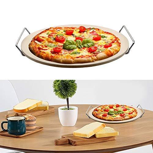 DRULINE Pizzastein mit Halter, runde Steinplatte für Pizza & Flammkuchen, Grillstein aus Cordierit, Ø 35 cm beige Brotbackstein für Backöfen, Holzkohle- und Gasgrills geeignet