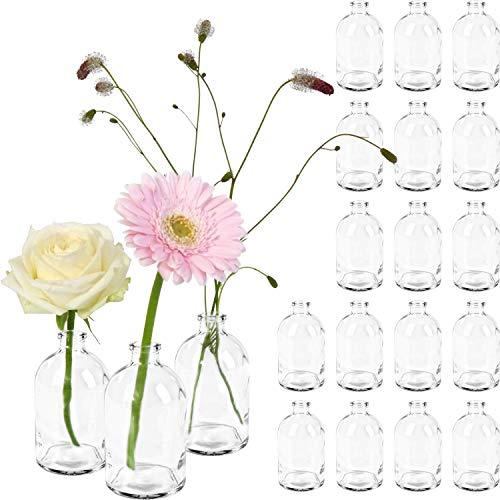 GIESSLE 20x Mini Vase Glasfläschchen kleine Flasche Tischvasen Glasflaschen Dekoflaschen Väschen Vasen Glasvasen