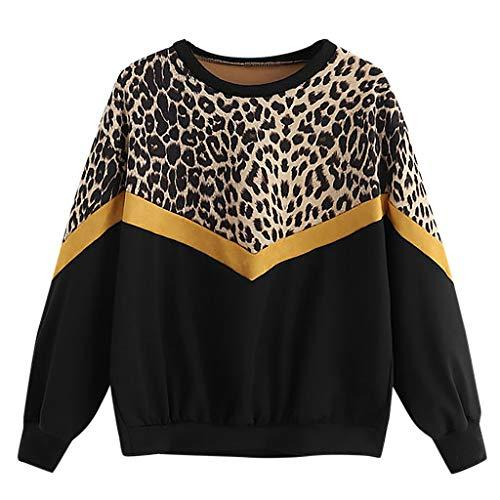Jersey Manga Larga Mujer,riou Sudaderas Adolescentes Chica Cuello Redondo Estampadas Leopardo Costuras Sudaderas Casuales Tops Hoodie Pullover