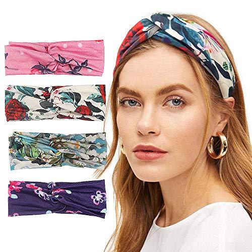 Kvaya Haarband,4 Stück Sommer Boho Stirnband Damen Sport Baumwolle Elastisches Dehnbares Haarbänder Mädchen Blumen Knoten Headband… ……