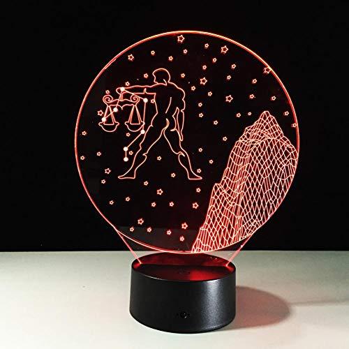 LIkaxyd LED 3D-nachtlampje, optische illusielamp 7 kleuren veranderen, Touch USB & batterij-aangedreven speelgoed decoratieve lamp, beste cadeau voor kinderen-Weegschaal