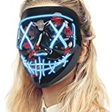 Lizber Halloween Mask, Led Light Up Mask with Neon Wires, Adjustable Scary Masquerade Glow Mask for Festivals, Parties, Carnivals and Raves, Glowing Mask for Men, Women, Kids, Moon Blue