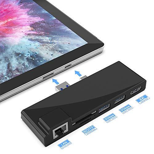 Tragbares Dock für Surface Pro 4/5/6 USB-Hub-Dockingstation mit 1000M Ethernet-Anschluss, 4K HDMI, 2 x USB 3.0-Anschlüssen, SD/Micro SD-Kartenleser, LAN-Adapter für Surface Pro 2016/2017/2018