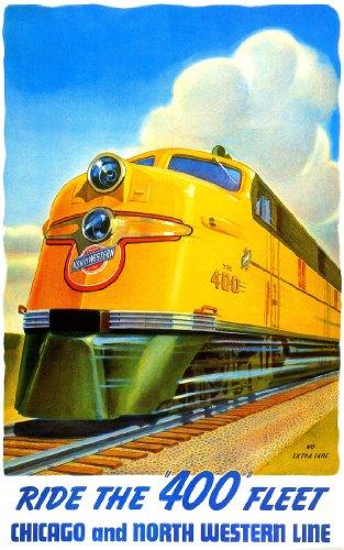 Chicago Northwestern 400 Train Railroad Poster 1950s Art Deco Vintage Advertising