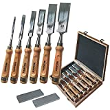 Stemmeisen Stechbeitel Set für Holz | 6 Beitel + 2 Abziehsteine + Koffer von Hawerk
