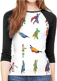 Casual Women's mid-Sleeve T-Shirt Superhero Multicolor
