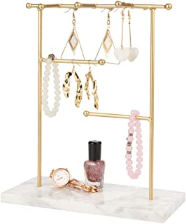 QILICHZ Marble Jewelry Tree Stand Jewelry Holder Necklaces and Earrings Holder JewelryHanger Display Organizer Rackfor Necklace, Bracelets, Earrings and Watches