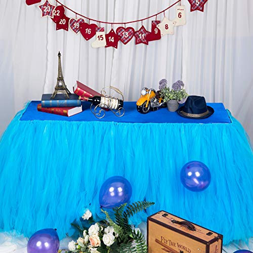 MYMM Jupe de Table, Gaze de Bureau en Tulle Romantique, décoration de Table, Nappe de Tutu Flocon de Neige au Pays des Merveilles, pour Baby Shower, Mariage, fête, Bar (Tutu-Bleu, 3FT)