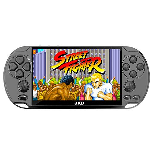 JXD New 5.1 inch 16GB 128Bit Retro Handheld Video Game Console Built-in 3000 Games for Arcade NEOGEO/CPS/FC/NES/SFC/SNES/GB/GBC/GBA/SMC/SMD/SEGA Handheld Game Console mp3/4 (Black)
