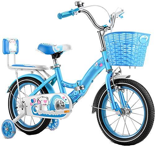 TOOSD Bicicleta para Niños De 12 A 18 Pulgadas, Bicicleta Plegable para Niños con Rueda Auxiliar De Flash Y Asiento Trasero para Niños Y Niñas, Bicicleta De Entrenamiento,A,14
