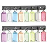 Acrimet Key Tag Rack w/ 8 Keyring Tags (Self-Adhesive Key Storage Rack) (2 Pack) (Assorted Color)