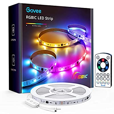 Govee 16.4ft RGBIC LED Strip Lights with Segmented Color Changing and Rainbow Effects, Remote Control LED Lights, 7 Light Modes Easy Installation LED Light Strip for Bedroom Living Room, Kitchen
