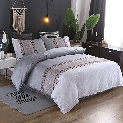 BH-JJSMGS Bedruckte Bettwäsche und Kissenbezüge, reversibles Design mit bedrucktem Muster, Leichter Bettbezug aus Polyester-Mikrofaser, 200 * 200 (dreiteiliges Set) hellgrau