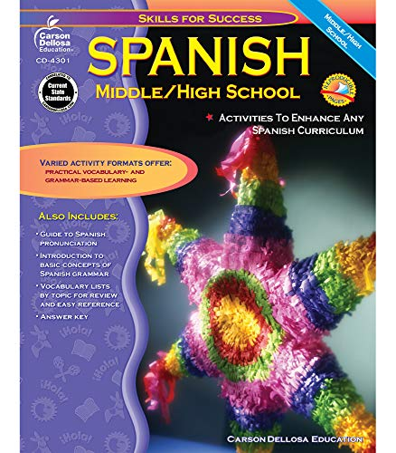 Skills for Success Spanish Workbook Grades 6-12 , Middle School and High School Vocabulary Building, Grammar Practice for Homeschool or Classroom (128 pgs)