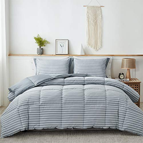 Bedsure Blue King Comforter Set - 3 Piece Reversible Percale Stripes Hypoallergenic Down Alternative Box Stitching Duvet Insert with 8 Corner Tabs - All Season Bed Set with 2 Pillow Shams