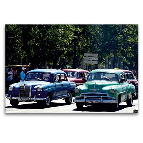 Calvendo Premium Lienzo 120 cm x 80 cm horizontal, la legendaria Mercedes 180 Viaje en La Habana, cuadro sobre bastidor, listo para lienzo auténtico, lienzo, lugares