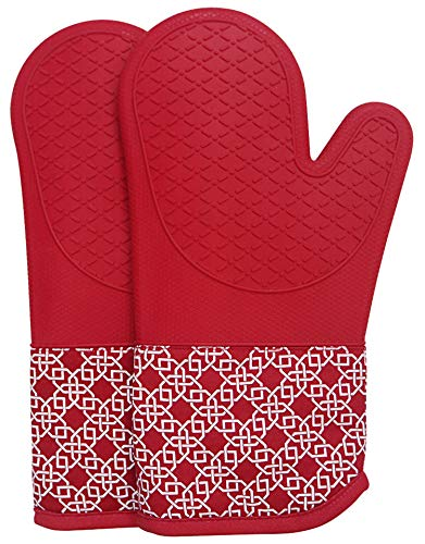 Oven Gloves Heat Resistant Silicone Shell Kitchen for 500 Degrees with waterproof, Set of 2 Oven Mitts with cotton lining for BBQ Cooking set Baking Grilling Barbecue Microwave Gauntlet Red