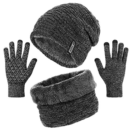 Tencoz Wintermütze Herren, Warme Beanie Winter Mütze und Schal, Winter Warme Strickmütze und Kreis Schal Set, Gestrickte Mütze Schal Handschuhe für Männer und Frauen Unisex